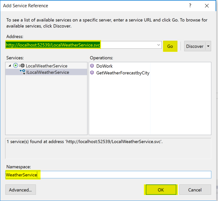 Add Service and set Namespace