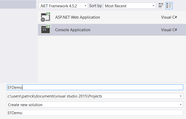 Create A New Project Dialog - Using The Entity Framework