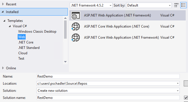 New Project ASP.NET Web Application - Creating A REST Webservice